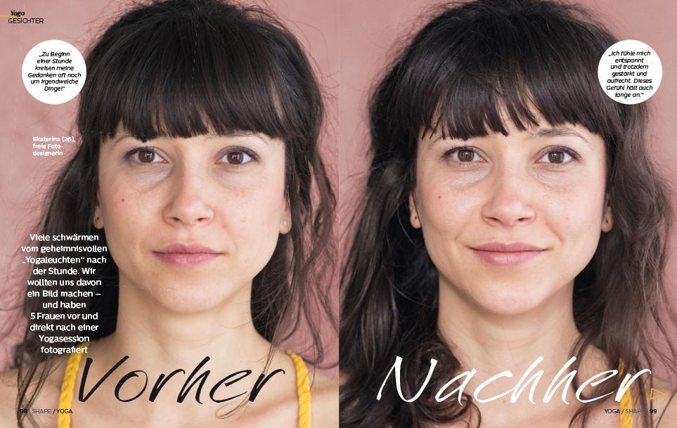 Vorher/Nachher-Yogaportrait
